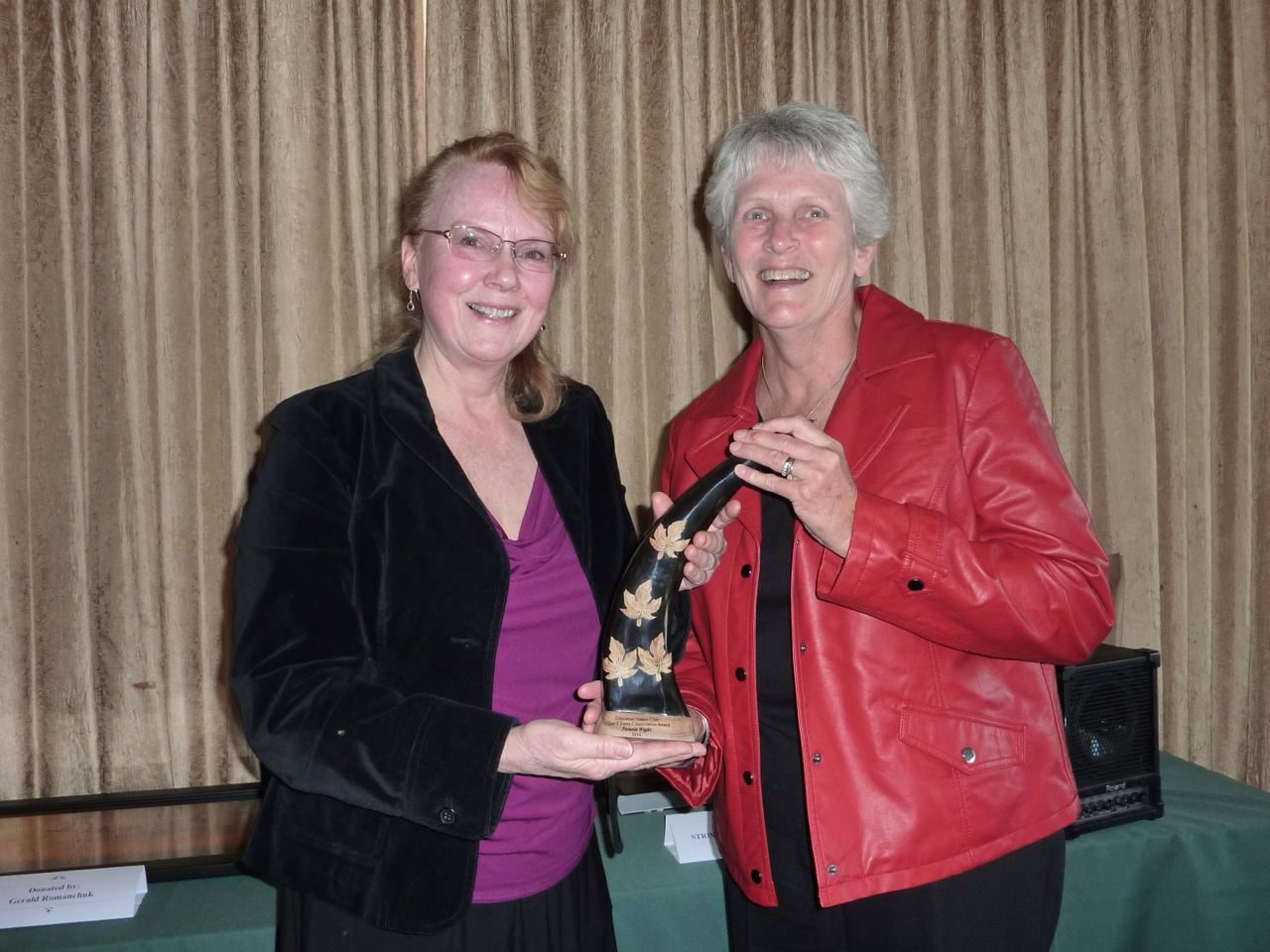 Pam Wight and Marg Reine with the Edgar T. Jones Award for Conservation