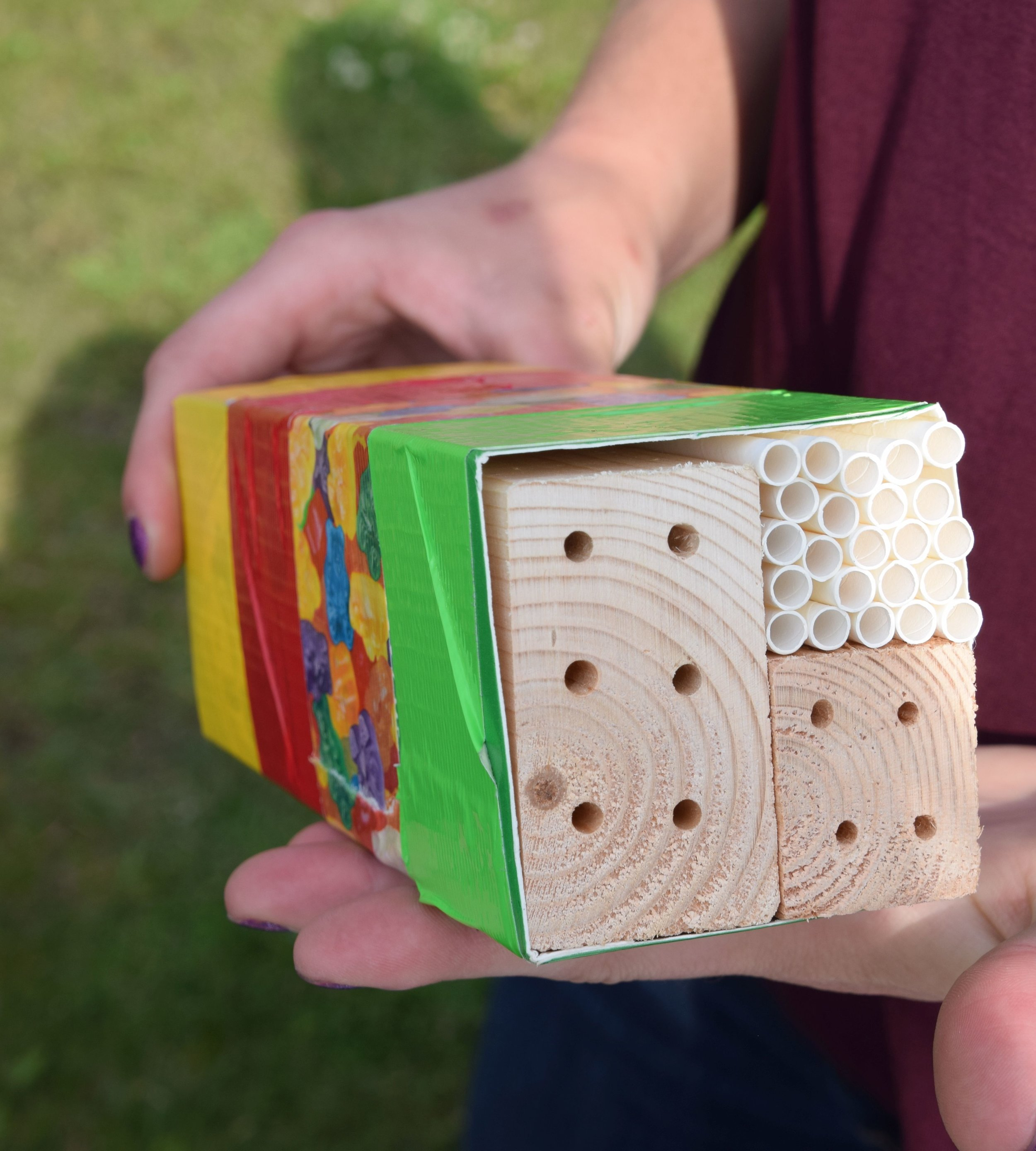 Milk carton bee hotel