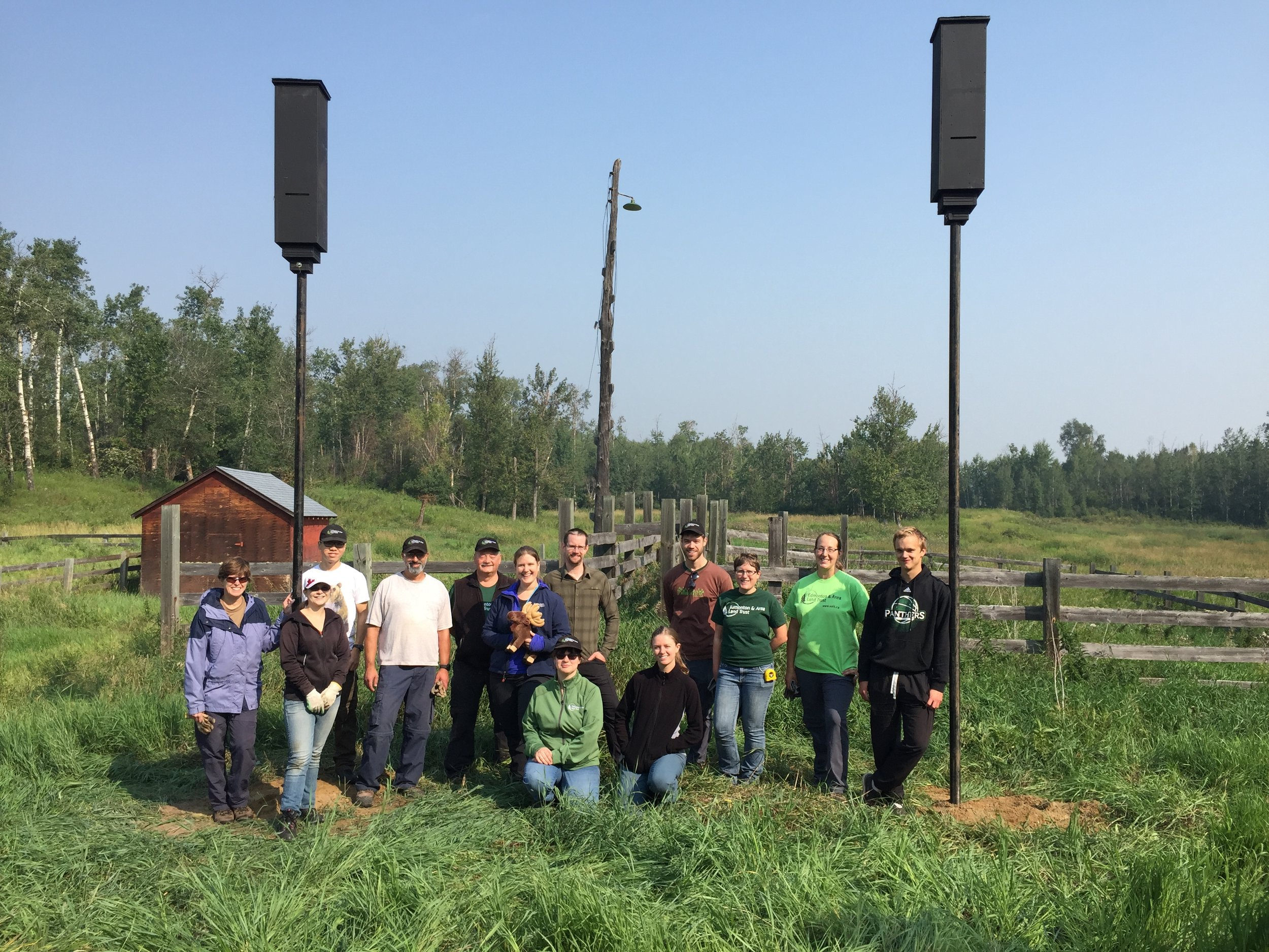 Volunteers installed two maternity bat boxes at a soon-to-be announced new EALT securement near Elk Island Park