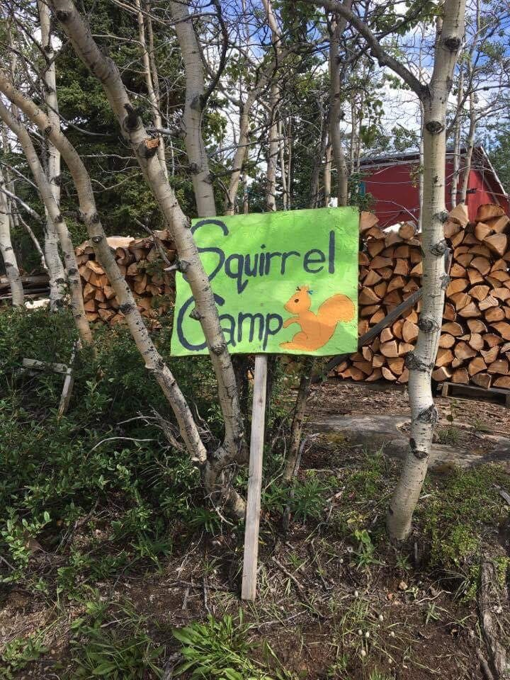 The official squirrel camp welcome sign