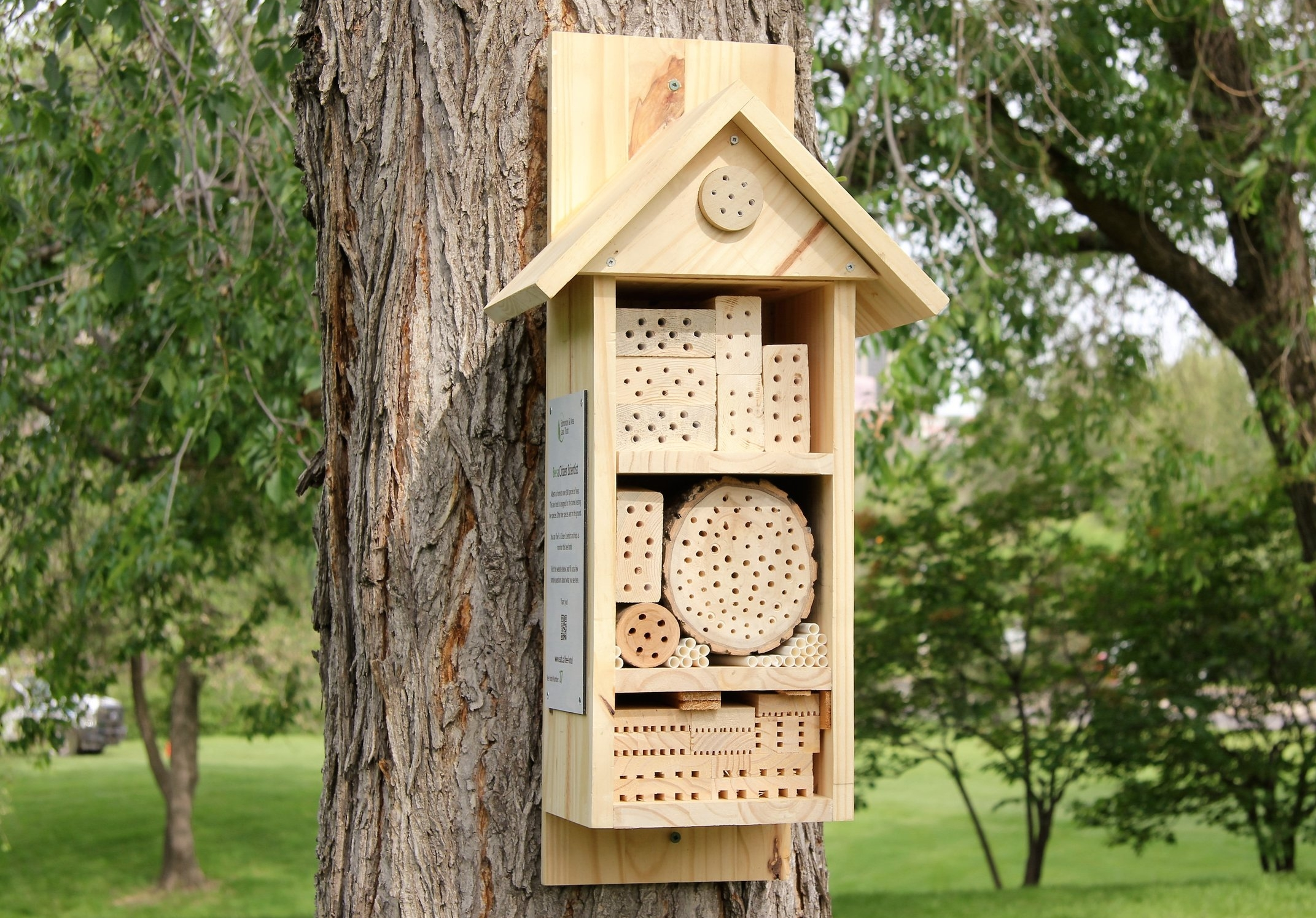 A bee hotel installed on the Muttart Conservatory grounds by EALT.