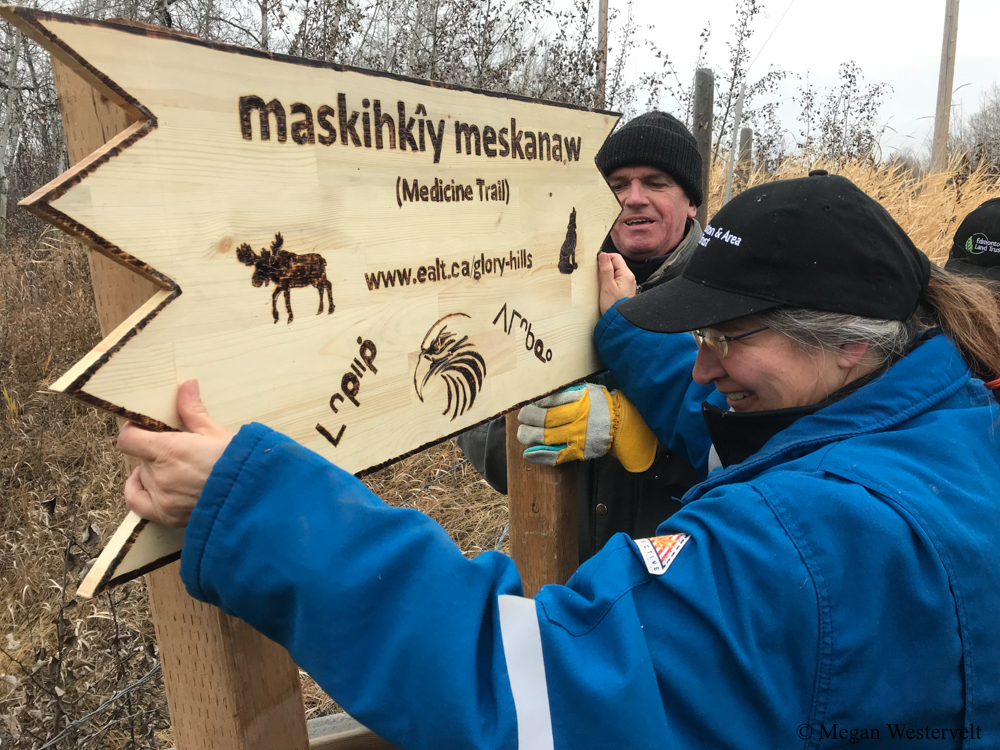 A volunteer with Cree heritage helps to install the new sign bearing the recently selected indigenous name for Glory Hills: maskihkîy meskanaw. Thanks to collaborative efforts between EALT, amiskwaciy Academy, and MacEwan University, those who visit can once again connect with the area's ancient roots.