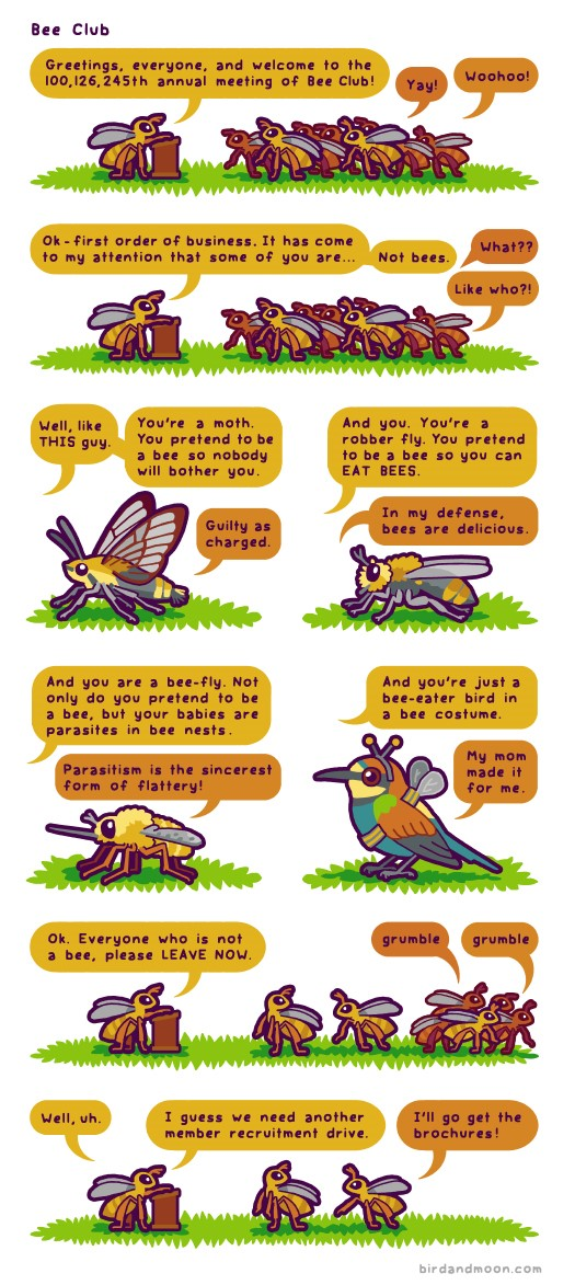 Image from Bird and Moon Science and Nature Cartoons at www.birdandmoon.com/comic/bee-club