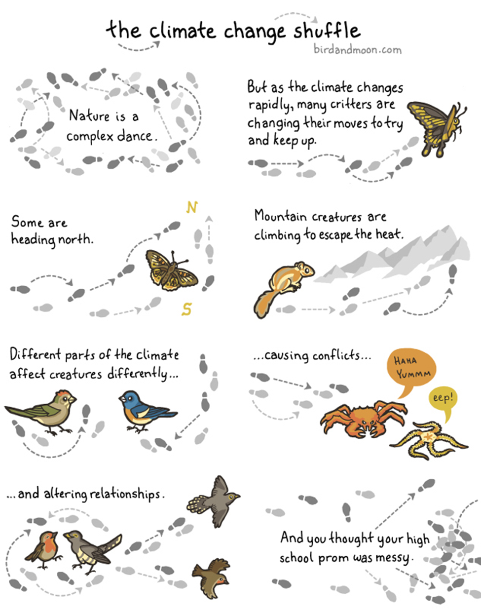 Image from Bird and Moon Science and Nature Cartoons at www.birdandmoon.com/comic/climate-change-shuffle