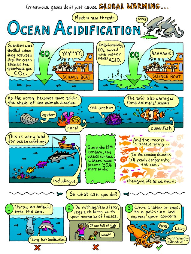 Image from Bird and Moon Science and Nature Cartoons at www.birdandmoon.com/comic/ocean-acidification