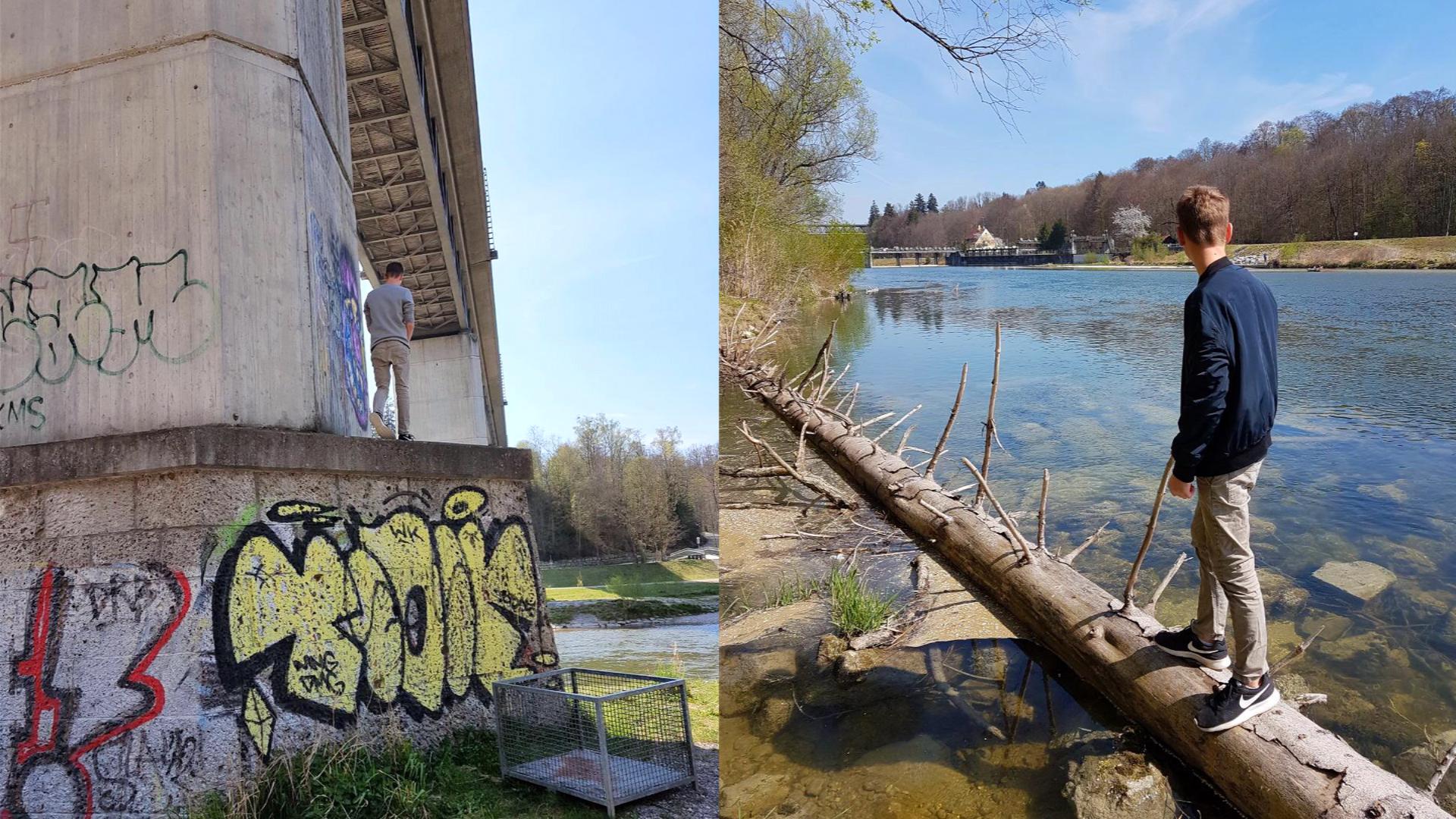 Wir holen uns Inspiration für unser Graffiti Projekt.