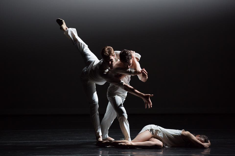 "Dancers Milan Misko, John Harnage, and Laura Mead in Lang's ""Sweet Silent Thought"".   Photo by Rosalie O'Connor, courtesy of Jessica Lang Dance."