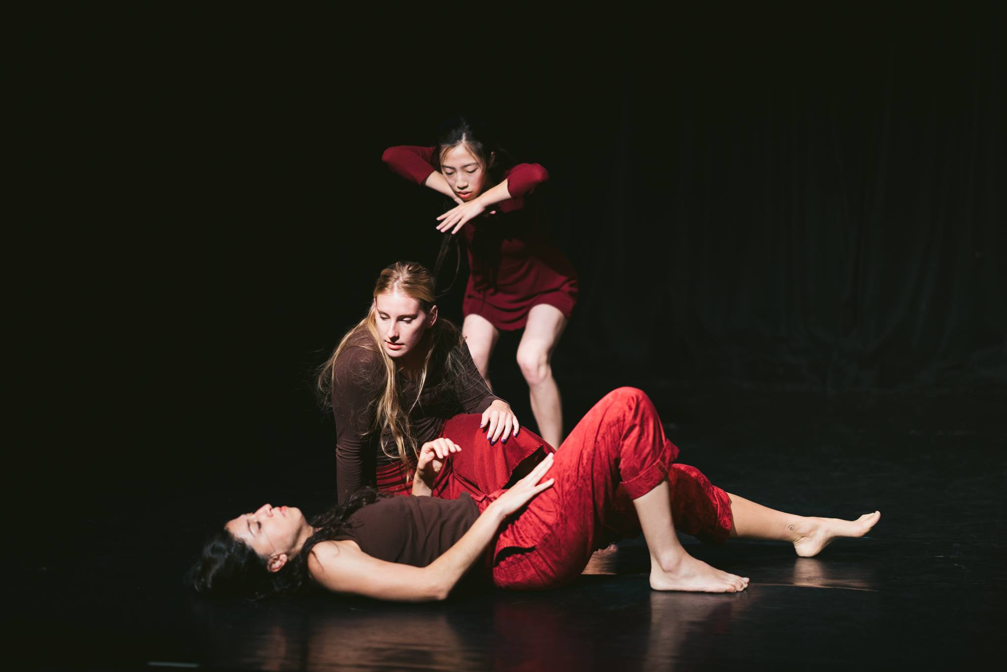 "Keith Johnson/Dancers' Haihua Chiang, Bahareh Ebrahimzadeh, and Katie Istvan in ""Mercy, Mercy, Me"". Photo by Motion Vivid."