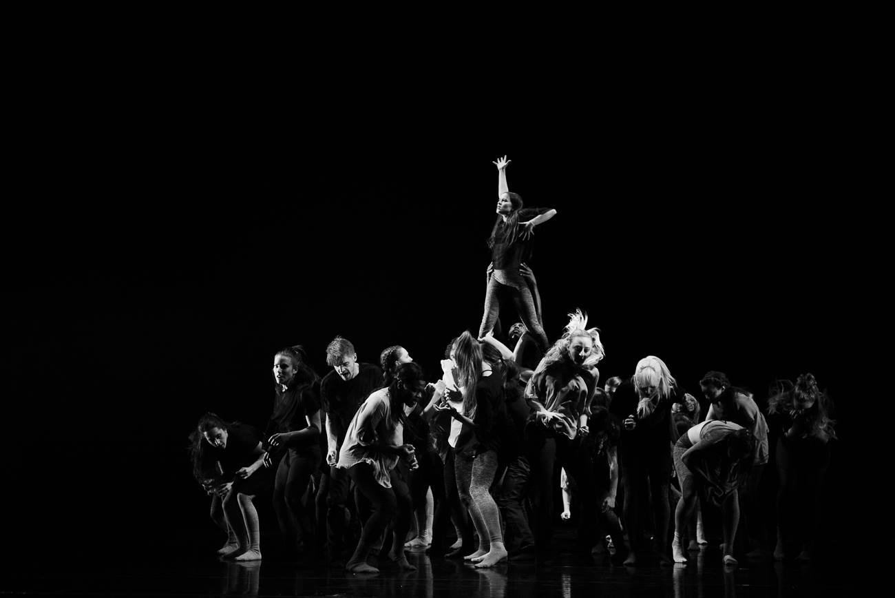 "RDT and Utah Valley University students in ""Tower"" by Andy Noble. Photo by Sharon Kain."