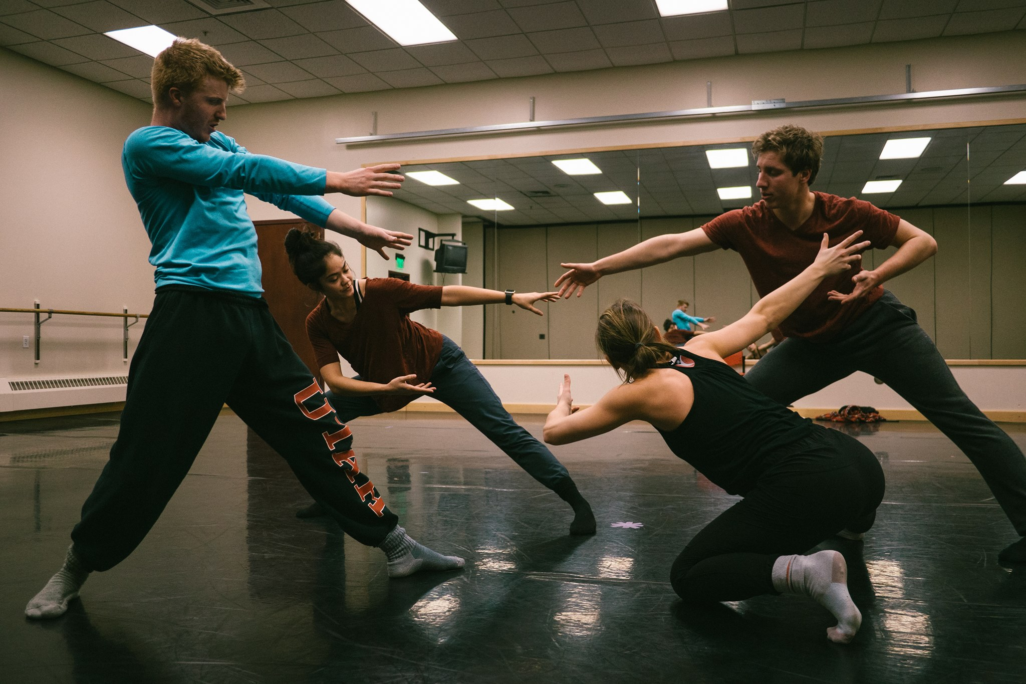 "From left to right: Austin Hardy, Nell Rollins, Natalie Jones, and Micah Burkhardt in rehearsal for ""La Mela."" Photo by Tori Duhaime."