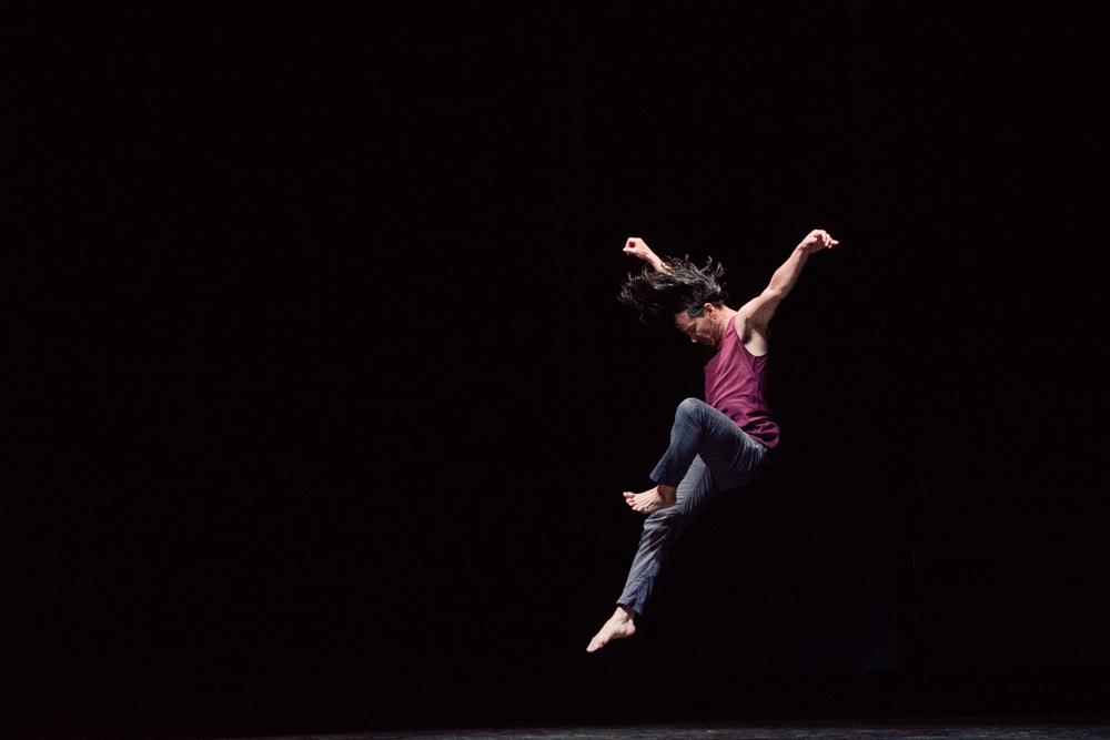 Repertory Dance Theatre's Efren Corado in Zvi Gotheiner's  Dabke . Photo by Sharon Kain.