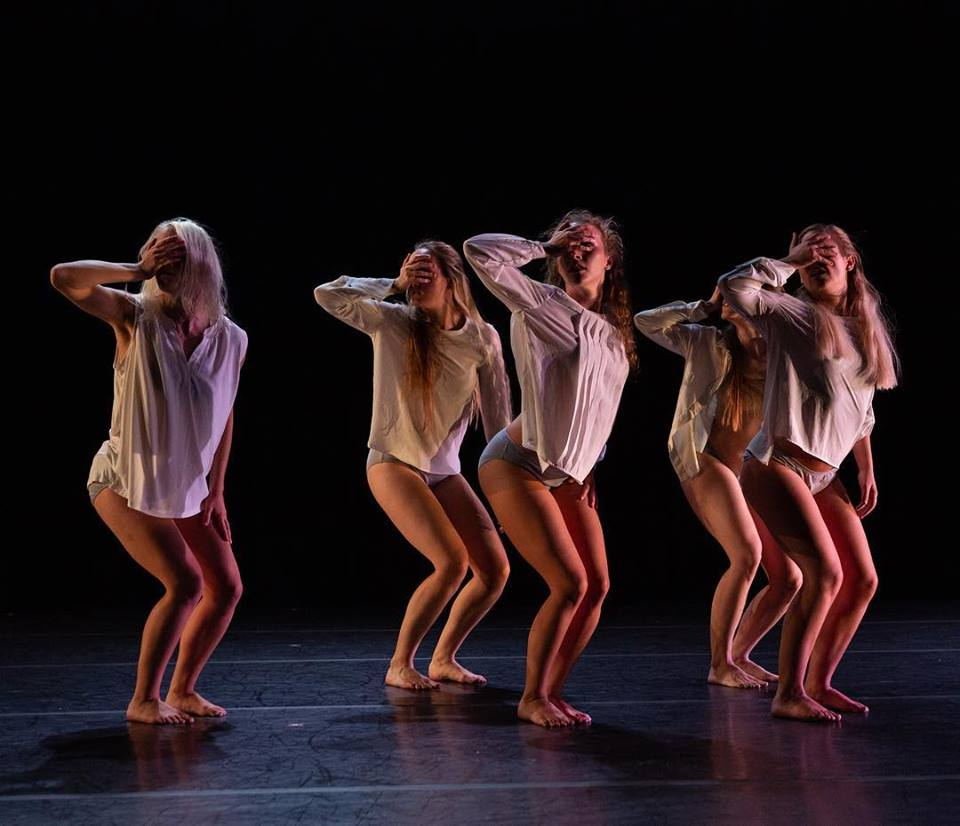 "Dancers in Dan Higgins' ""Asylum"" as a part of Brine's  Na . Photo by Paul Montano, lighting by William Peterson."
