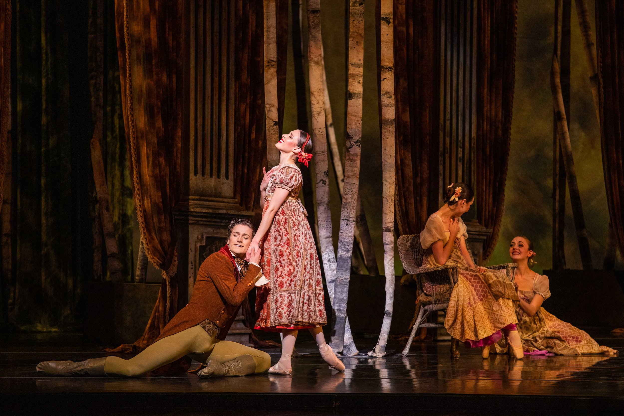 Soloists Jordan Veit (left) and Chelsea Keefer as Lensky and Olga, with artists of Ballet West. Photo by Beau Pearson.