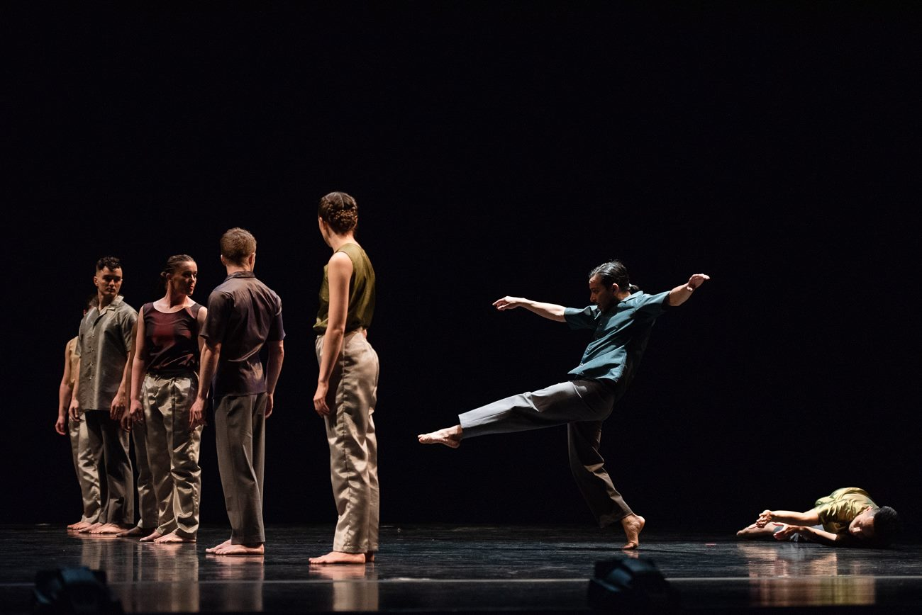 "Efren Corado Garcia (in blue) and the dancers of Repertory Dance Theatre in Bebe Miller's ""Event."" Photo by Sharon Kain."