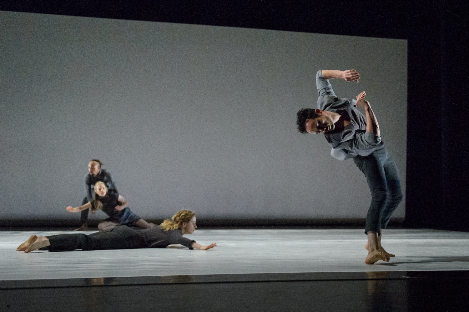 "Yebel Gallegos (right) and dancers of Ririe-Woodbury Dance Company in Tsveta Kassabova's ""The Opposite of Killing."" Photo courtesy of Ririe-Woodbury Dance Company."