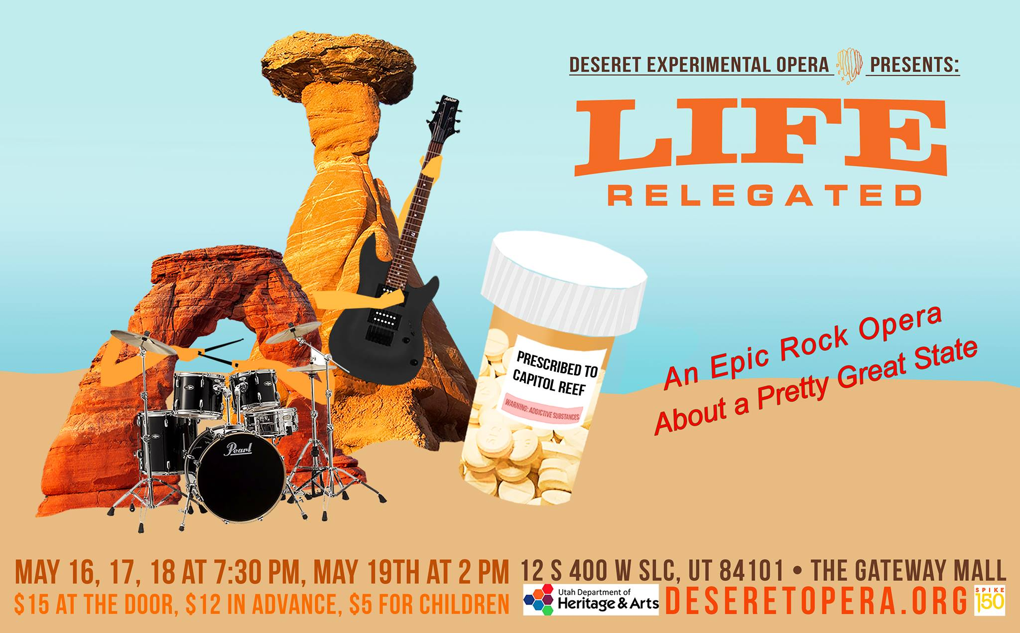 A promotional image for Deseret Experimental Opera's  Life Relegated , which continues through Saturday, May 18, at The Gateway Mall.