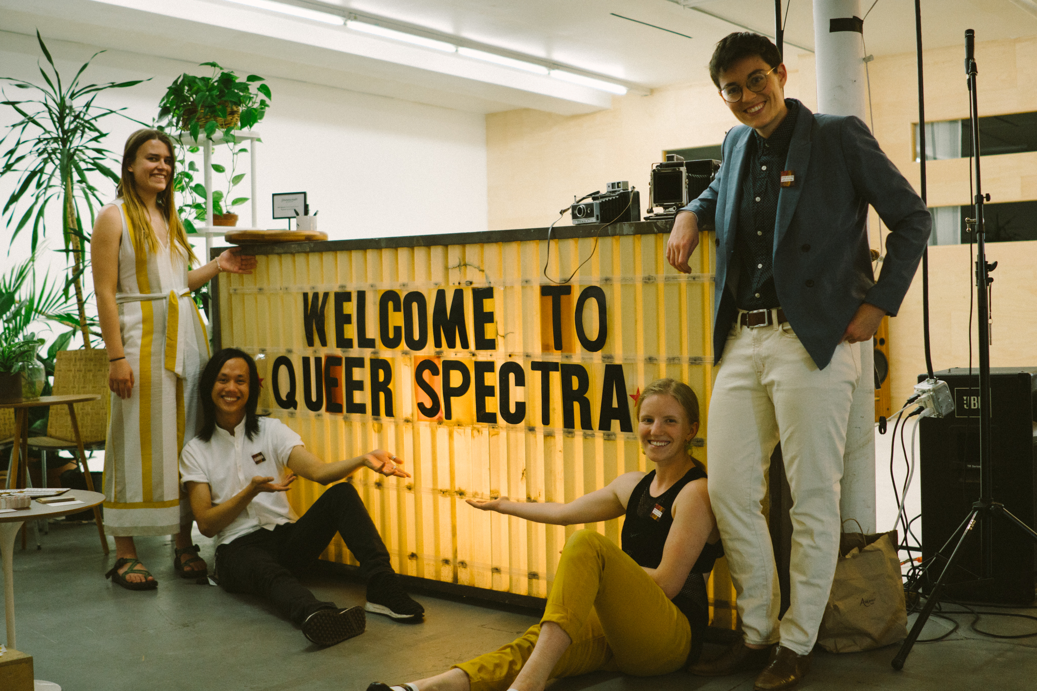 Queer Spectra Arts Festival co-founders (from left to right) Aileen Norris, Dat Nguyen, Emma Sargent, and Molly Barnewitz, pictured at Commonwealth Studios. Photo by Nora Lang.