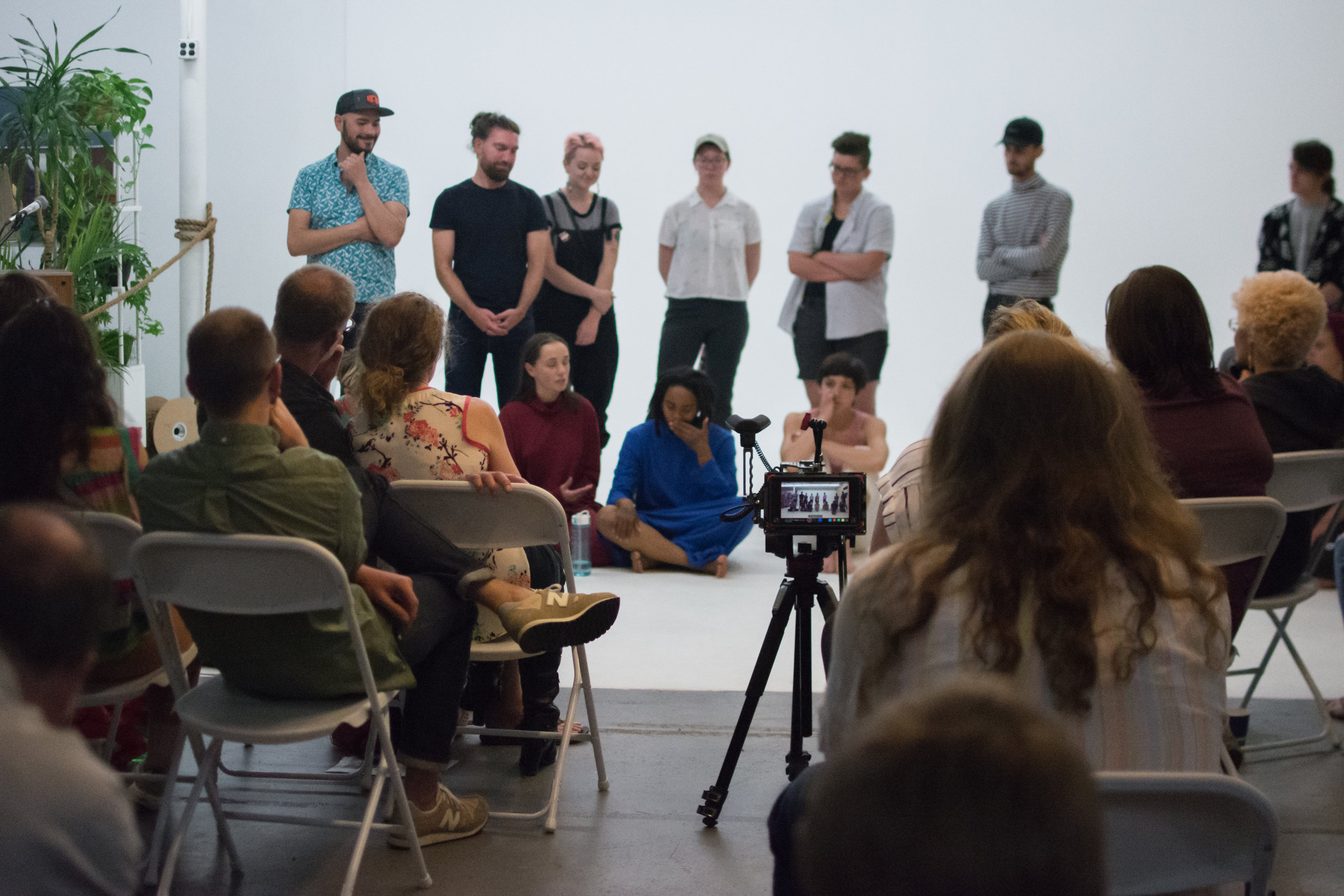 Performers in the Queer Spectra Arts Festival during a Q & A. Photo by Nora Lang.