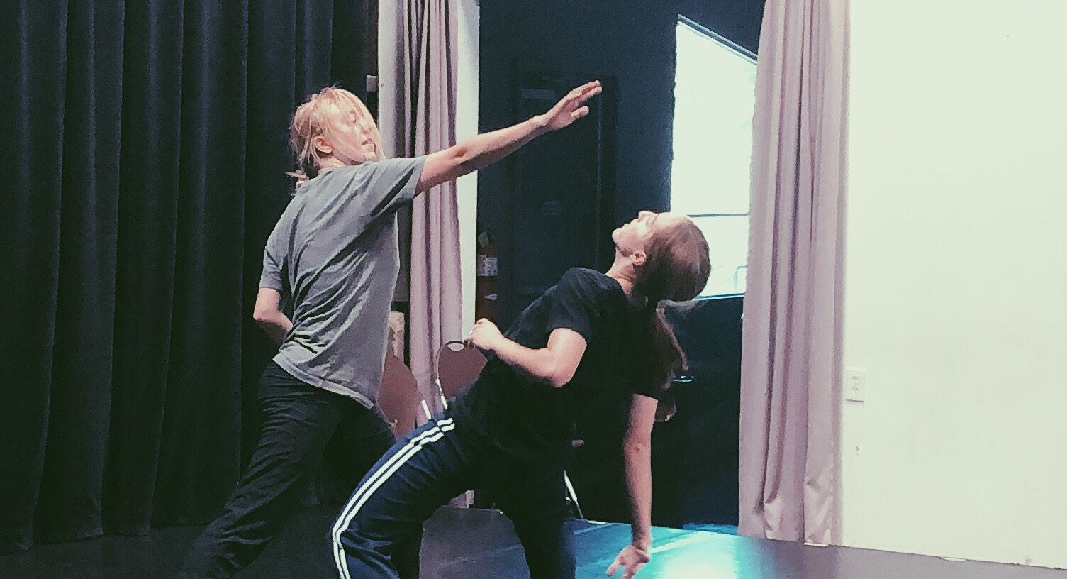 "Dancers rehearsing Haley Stassia's ""Unmasked: Vignettes,"" from  Suite: Women Defining Space . Photo by Haley Stassia."