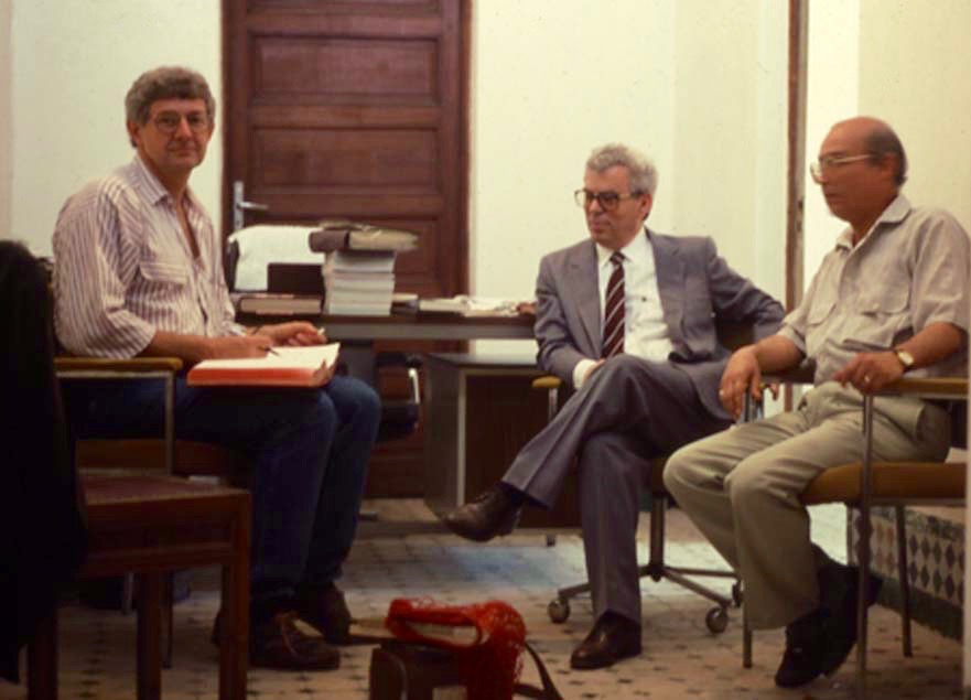 Ross Dunn with the director (center) of the Kutubiya library in Fez, Morocco. Ibn Battuta completed his narrative of transhemispheric travels in Fez and probably consulted books in the Kutubiya collection.