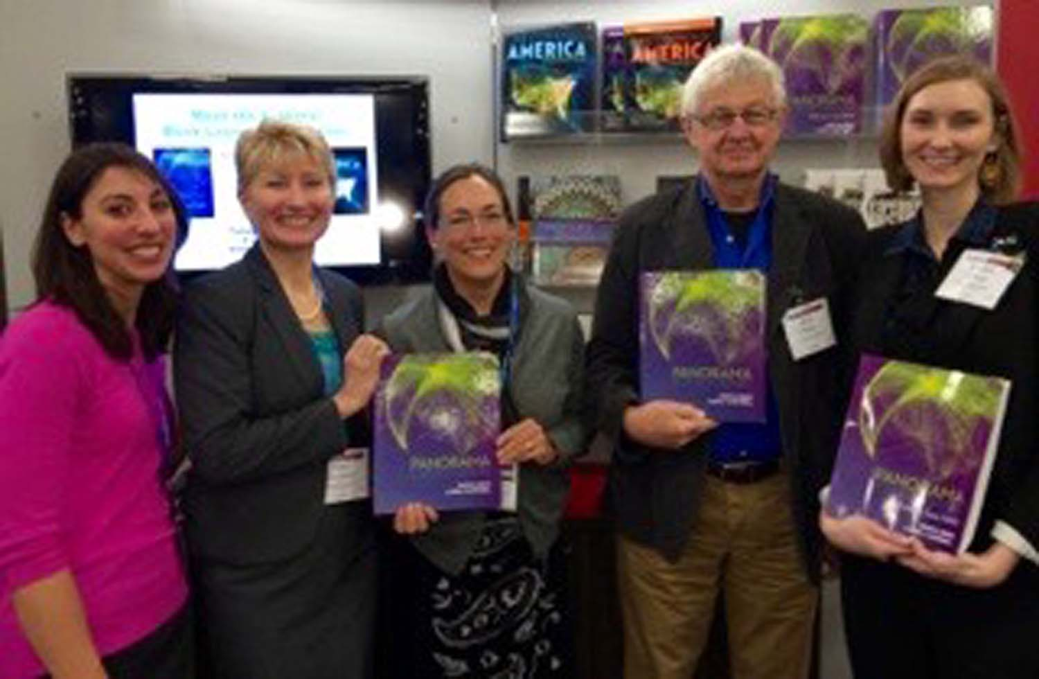 Launch of  Panorama: A World History  at the American Historical Association annual meeting in Washington, DC, January 2014. Authors Ross Dunn and Laura Mitchell (center) with McGraw-Hill Education editors.
