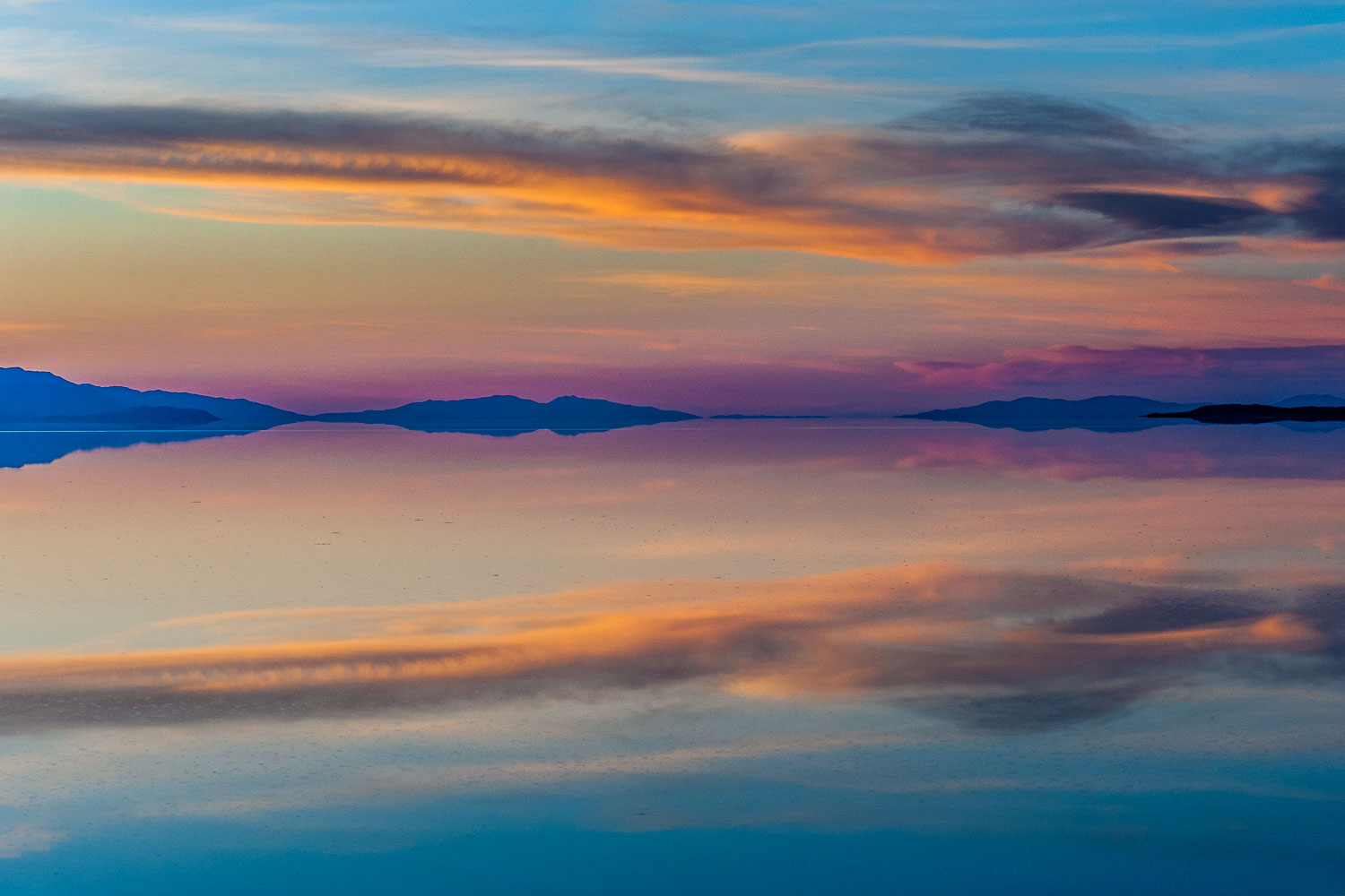 """Watercolor Reflection"" Great Salt Lake, Antelope Island State P"