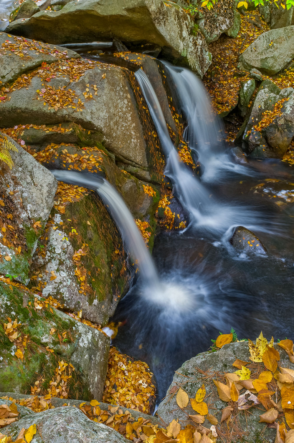 """Triple at Trap Falls"" , Autumn leaves at Willard Brook State Fo"