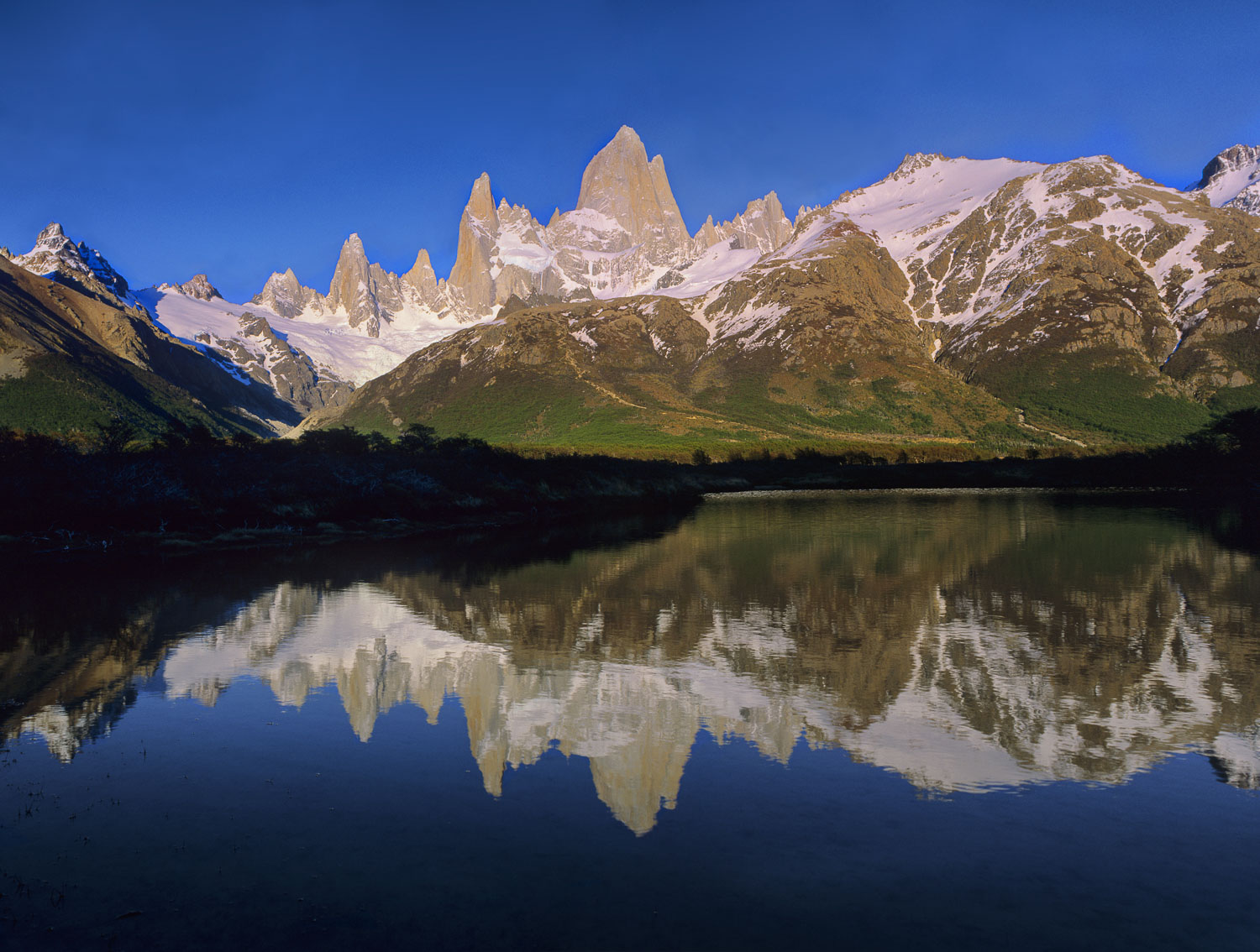"""Fitzroy Reflection"", Cerro Fitz Roy reflected in lake. Los Glac"