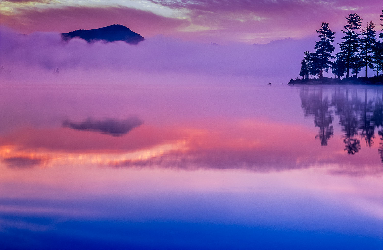 """Purple Fog"", Abstract Sunrise Reflection, Lake Onawa, Maine"
