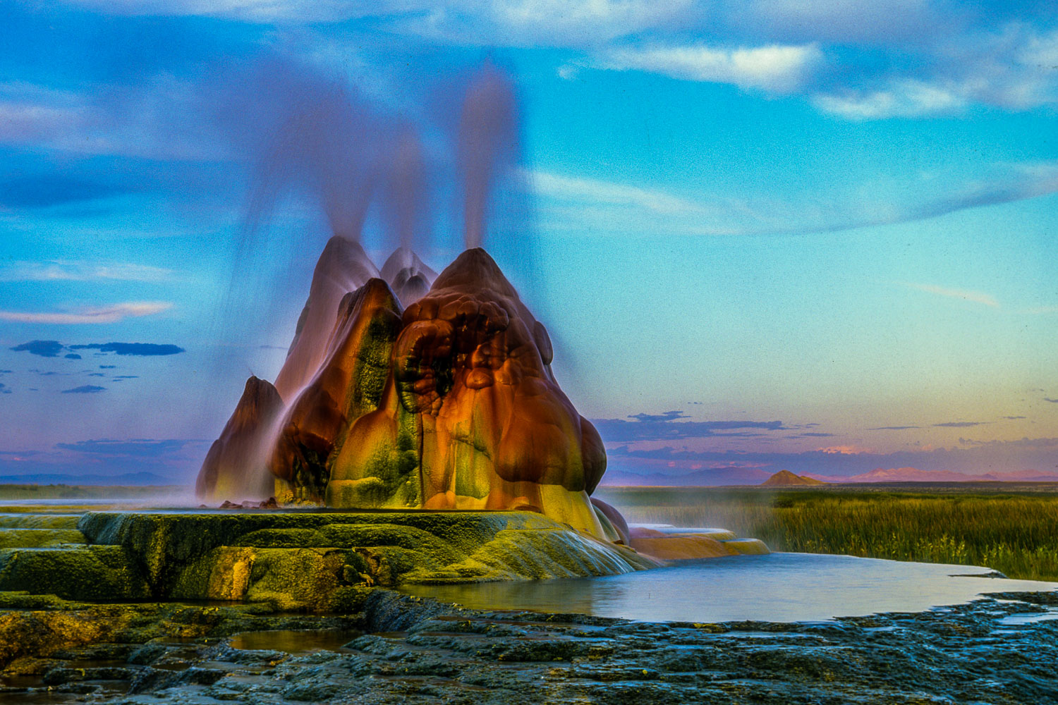 """Fountain Fantasia"", Fly Geyser purchased by Burning Man, Nevada"