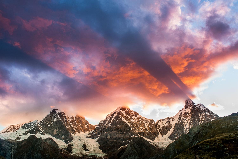 """God Rays at Sunset"" Crepuscular Rays emanate from Jirishanca, S"