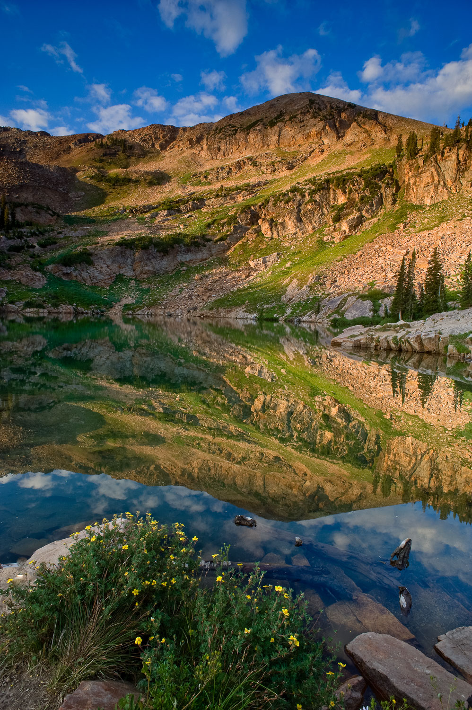 """Mirror Mirror"", Cecret Lake at Sunrise, Alta Ski Resort , Wasat"