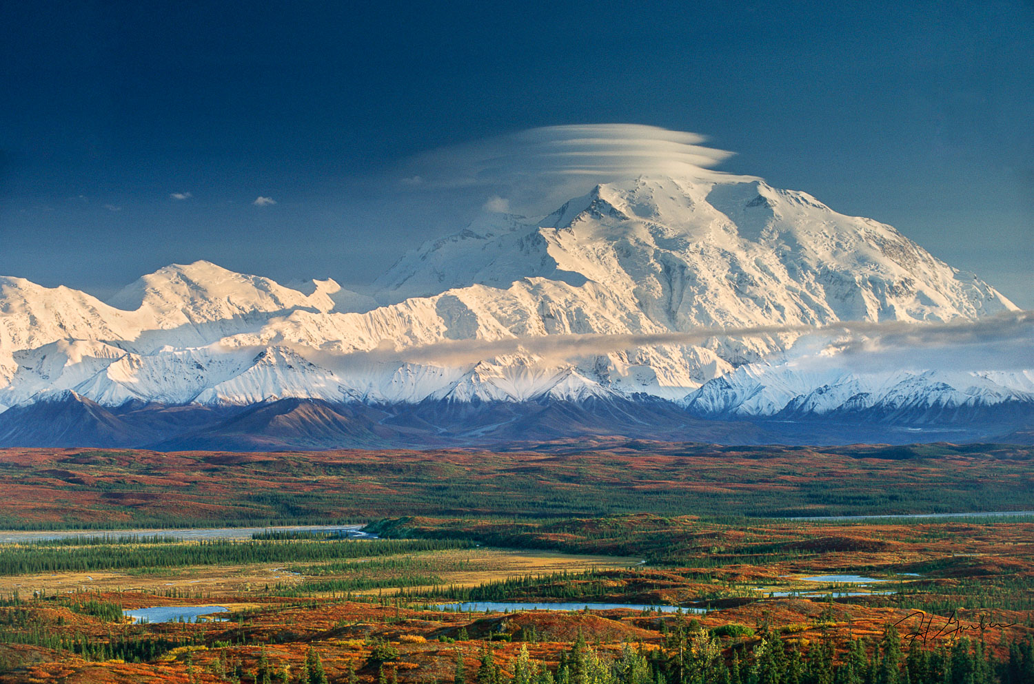 """Lenticulars Over Denali"" , Fall Foliage and Lenticular Clouds,"