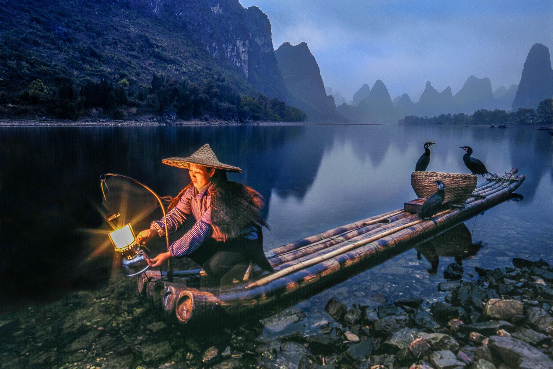 """""""Lantern Fishing"""" Woman on Bamboo Raft on Li River, China"""