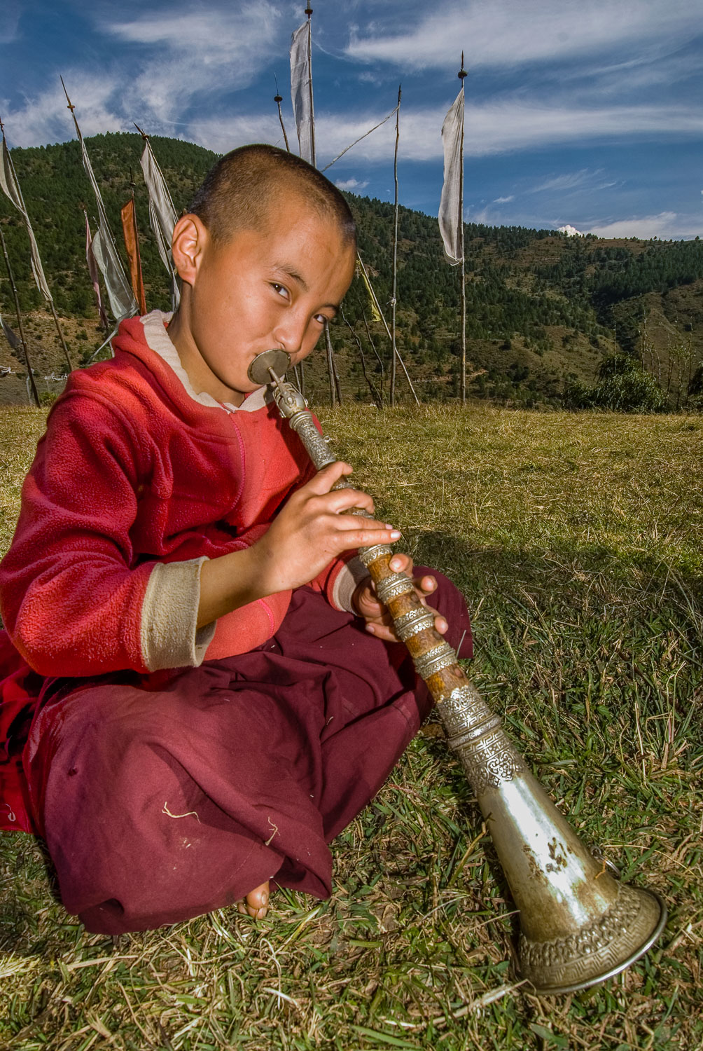 """Musical Monk"" , Young Monk playing Dungchen at Temple of Divine"