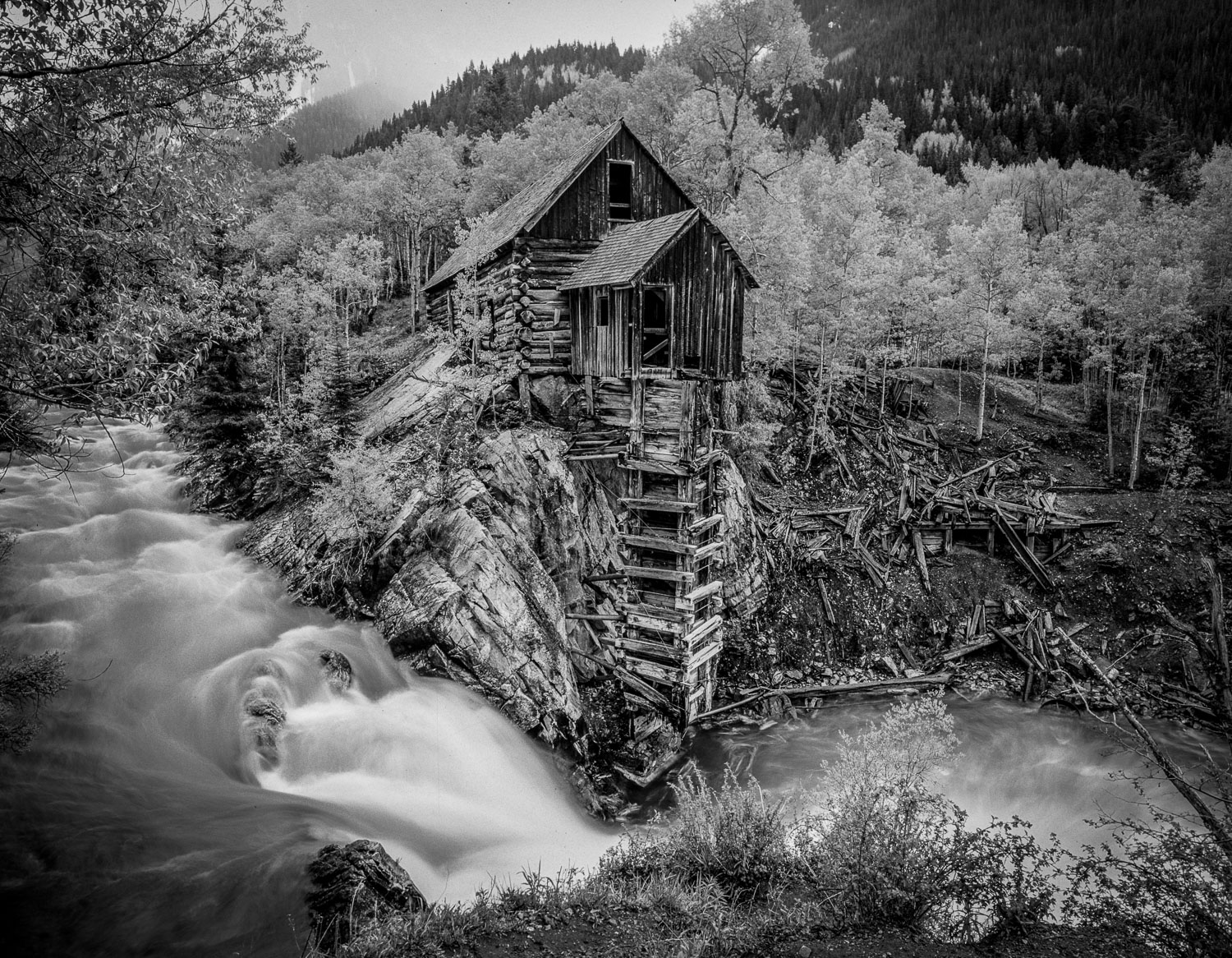 """Lost Horse Mill"", Black and White photograph, B&W near Marble,"