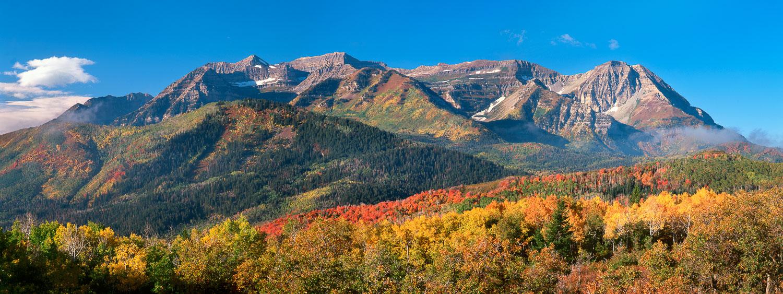 """Timp Fall Panorama"" Panoramic of Peak Fall Foliage and Mount Ti"