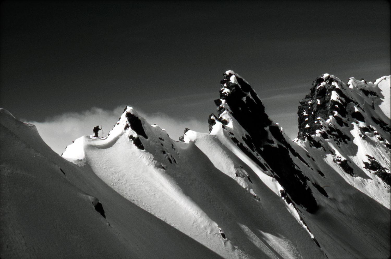 """Cardiac Ridge"" Black and White Photograph B & W of Skier traver"
