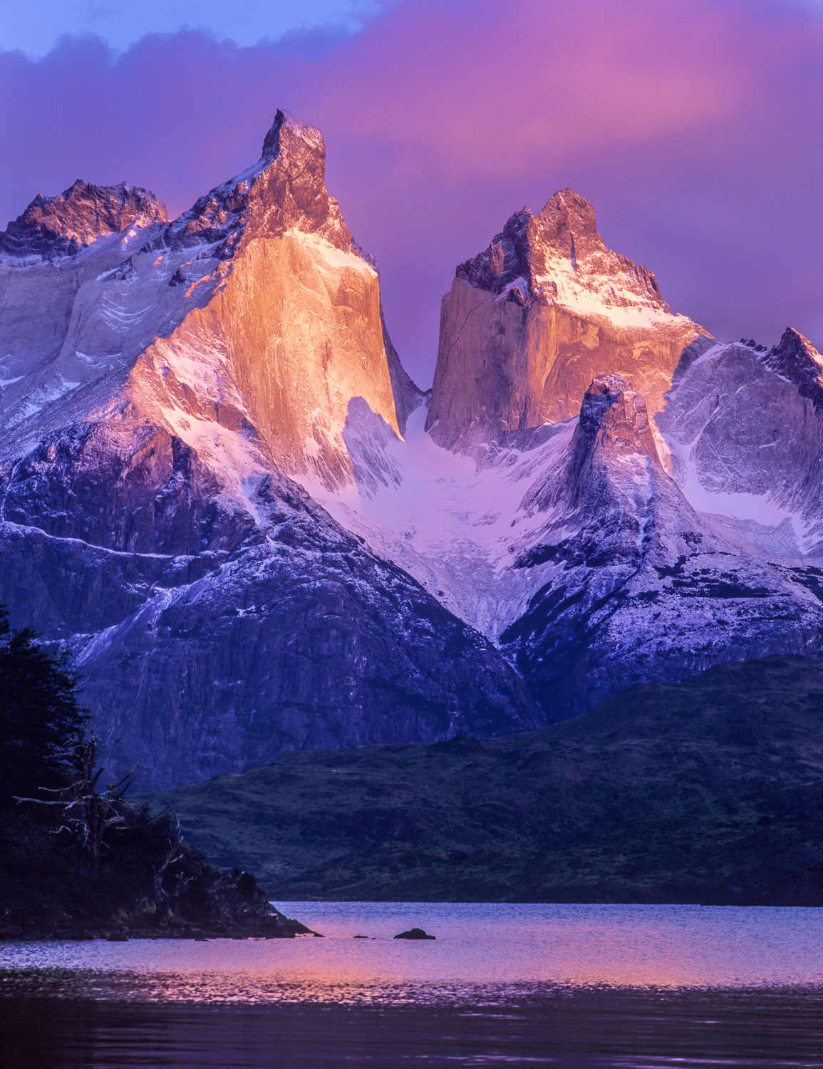 """Cuernos Glow"", A Reflection of the Cuernos at Torres Del Paine"