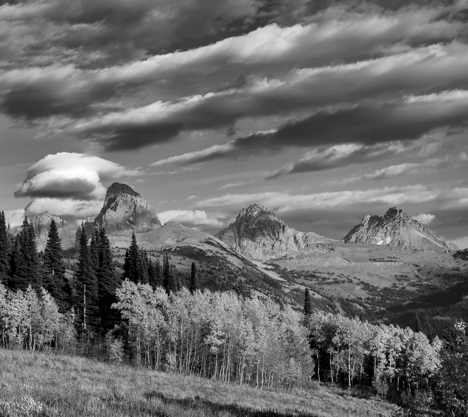 Streaked Clouds and  Aspens over the Teton Mountains near Jacks