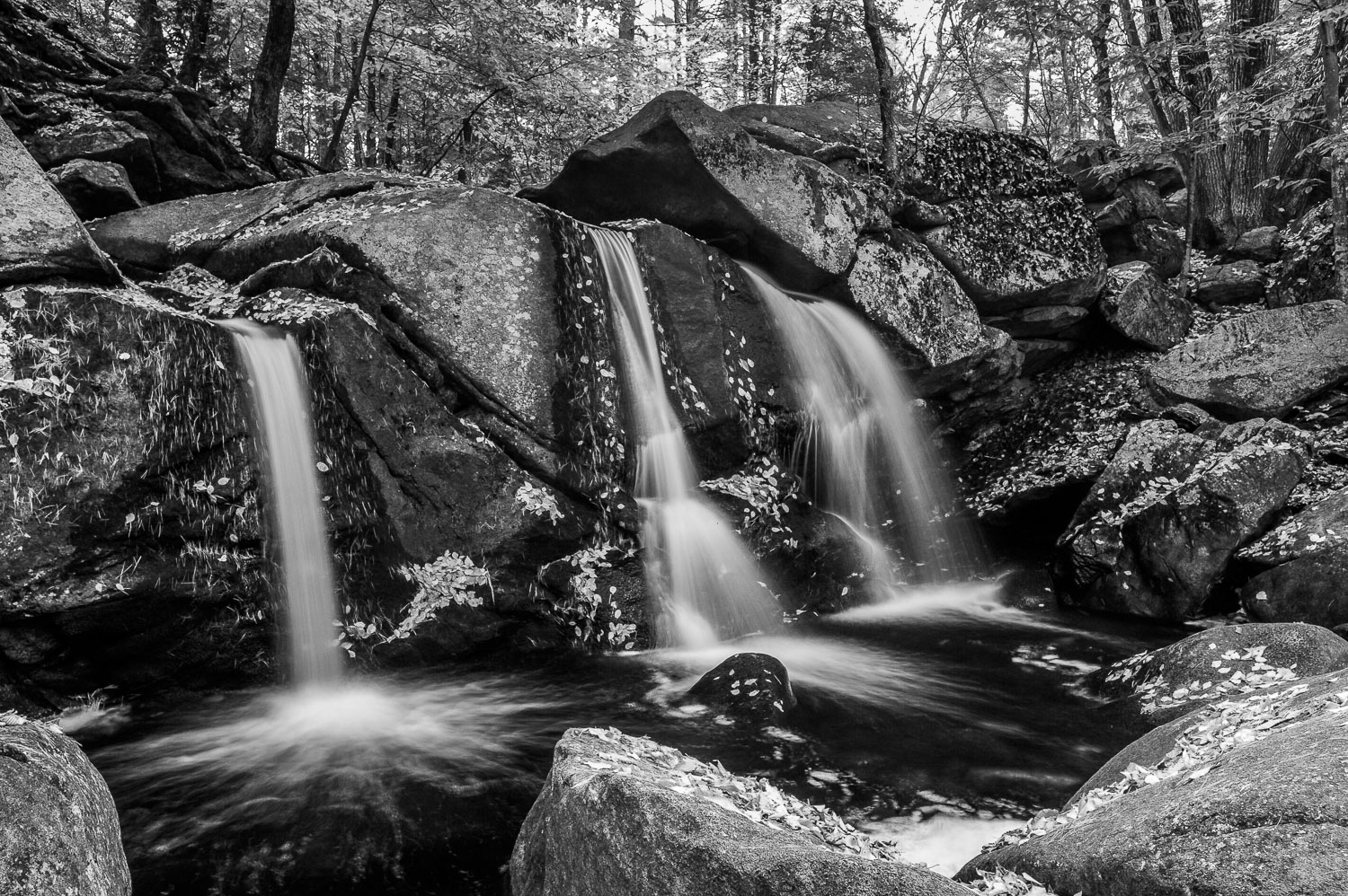 """Triple Falls"" Black and White B &W Landscape Photograph of wate"