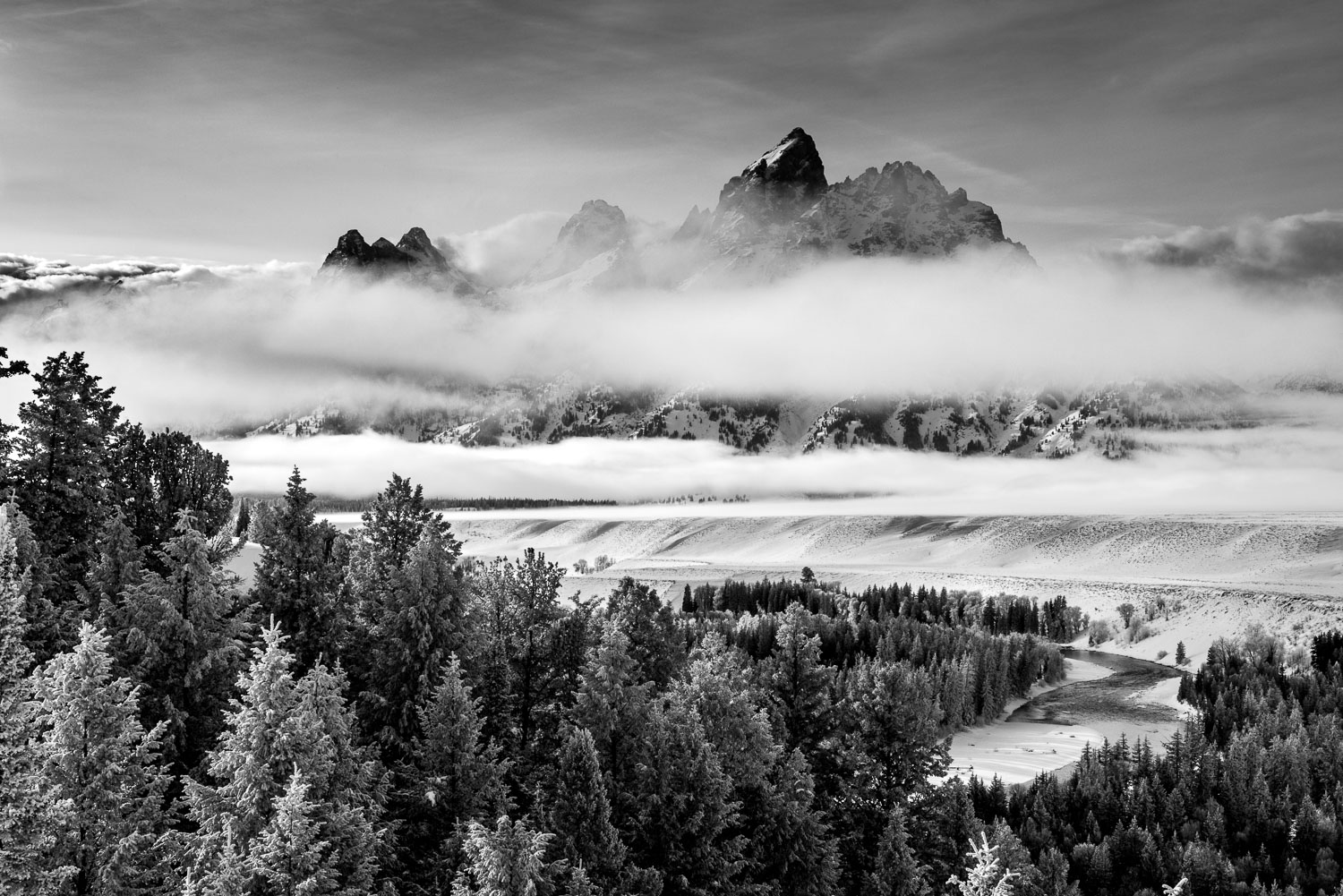 Black and White  B &W Photograph of Wintery Fog & Snake River ,