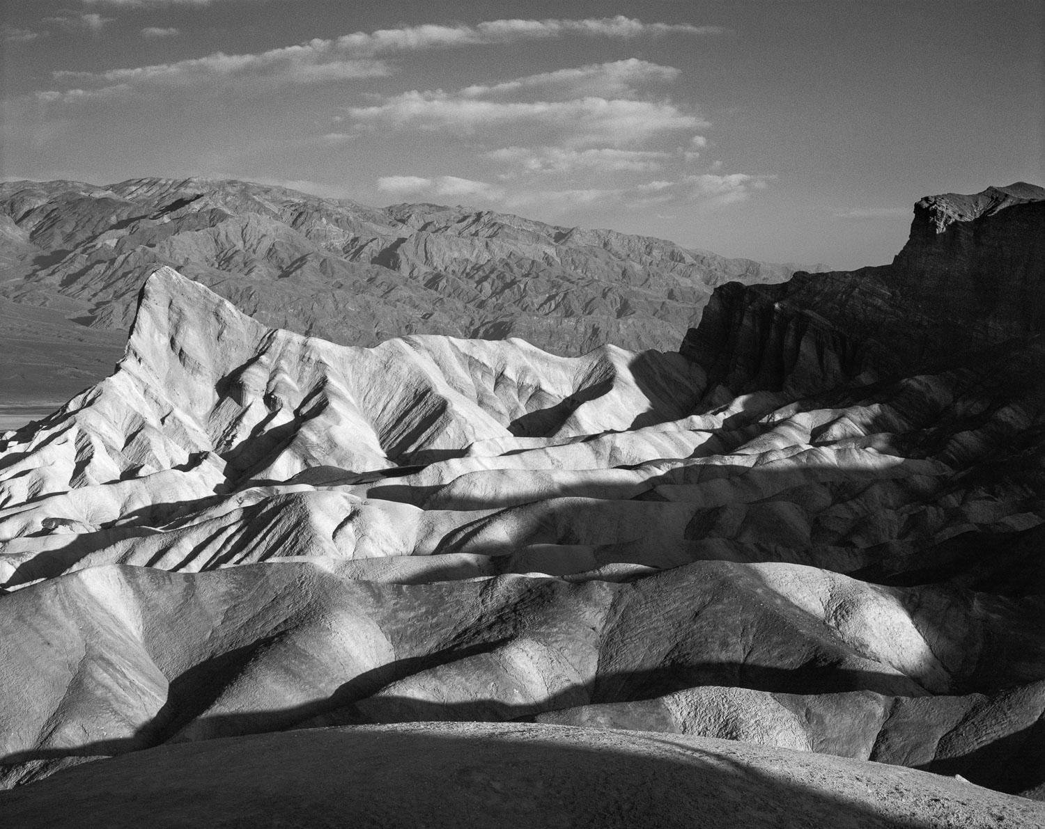 """First Light at Zabriskie Point"" Black and White B &W  photograp"