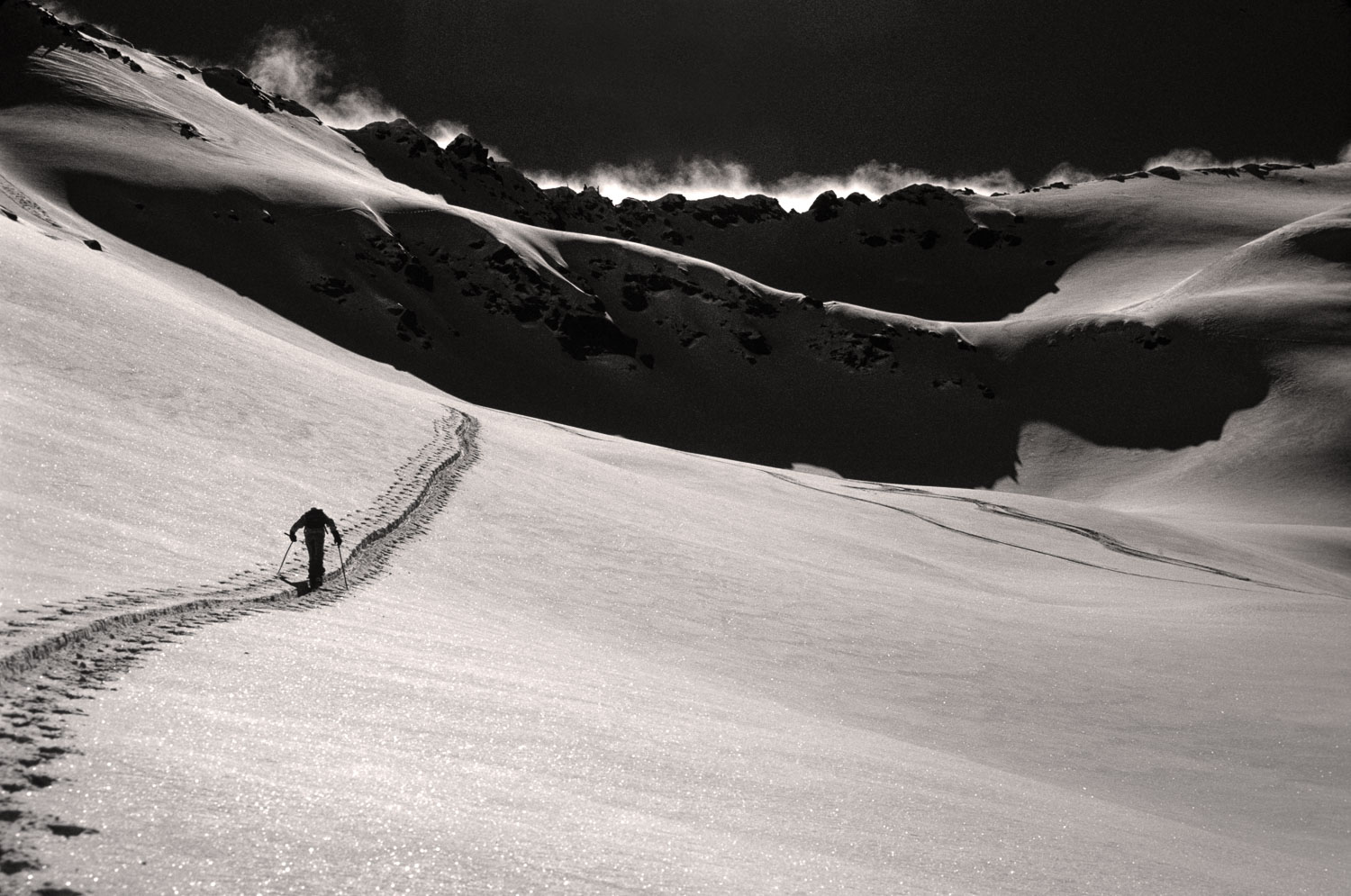 Black and White B &W Solo Skier Ascending Broads Fork in Wasatch