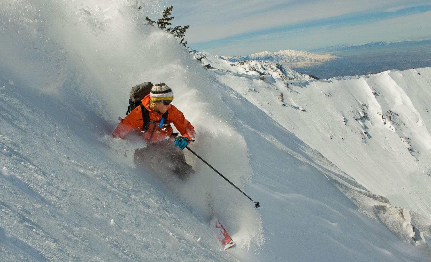 Telemarking in Deep Powder, Big Cottonwood, Wasatch Mountains, U