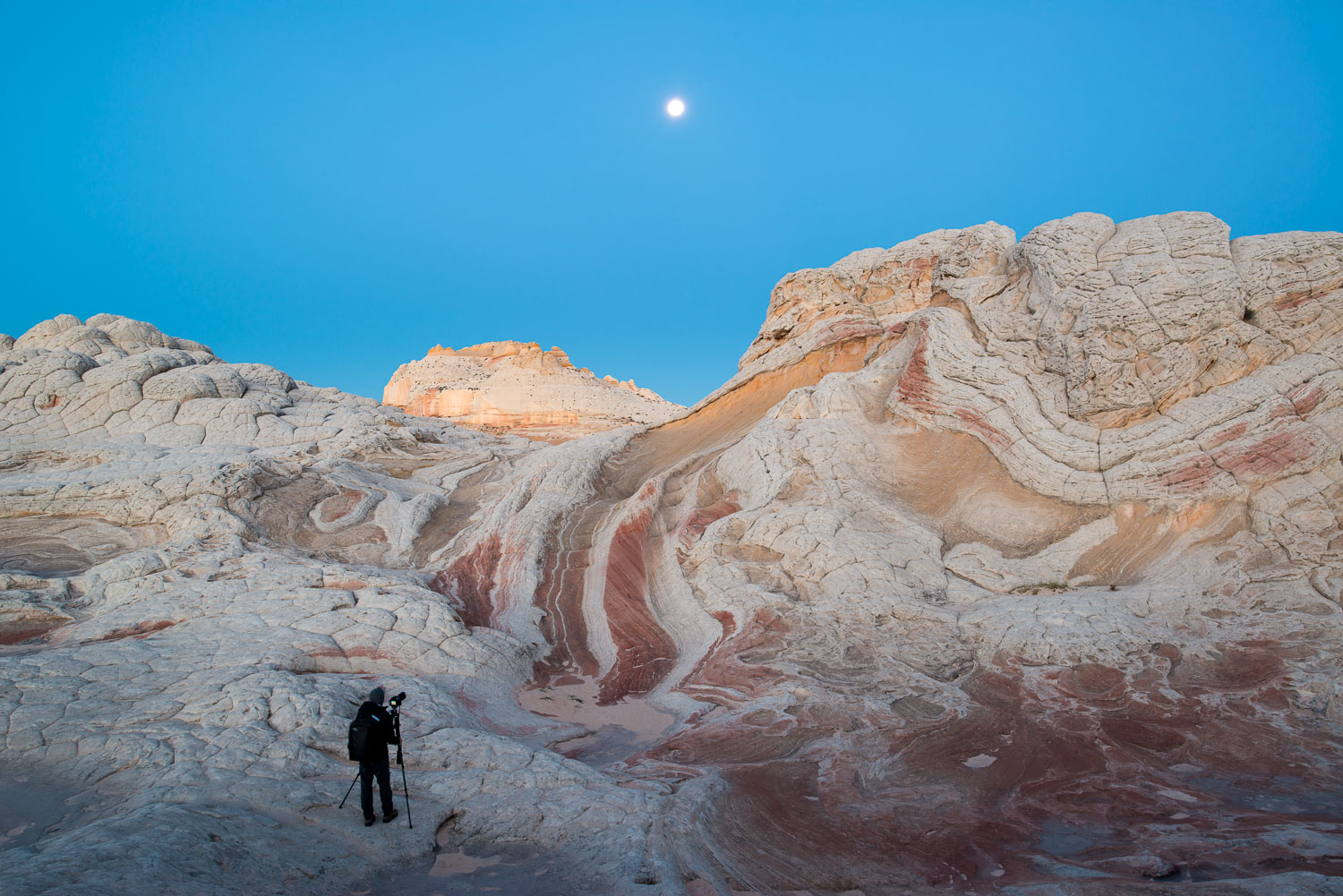 Photographer shooting the landscape and moon at Vermillion Cliff