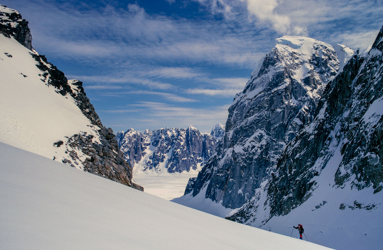 Backcountry skier Ascends Ruth Gorge,  Denali National Park and