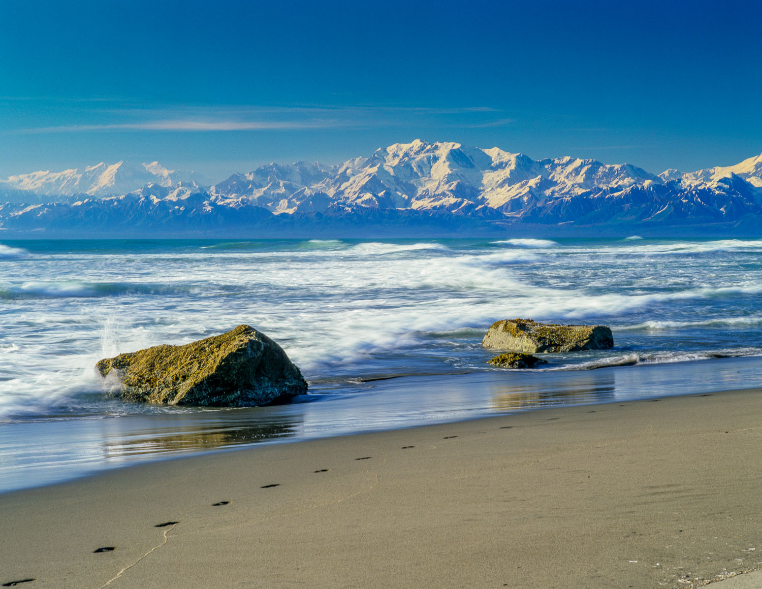 """Foot Prints in the Sand""  on Beach near Yakutat , Alaska and Mo"