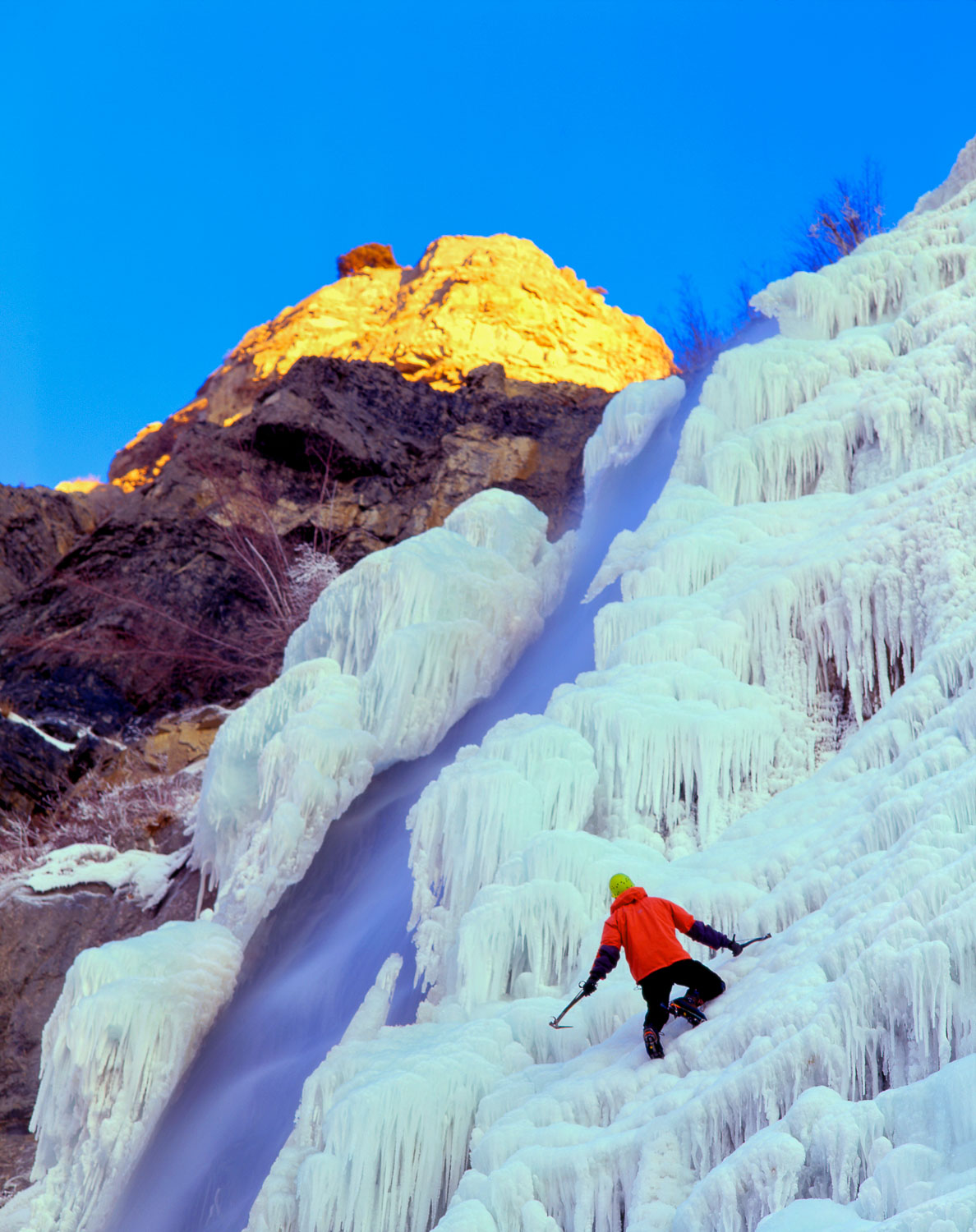 Solo Ice Climber ascends Bridal Veil, Provo Canyon, Wasatch Moun