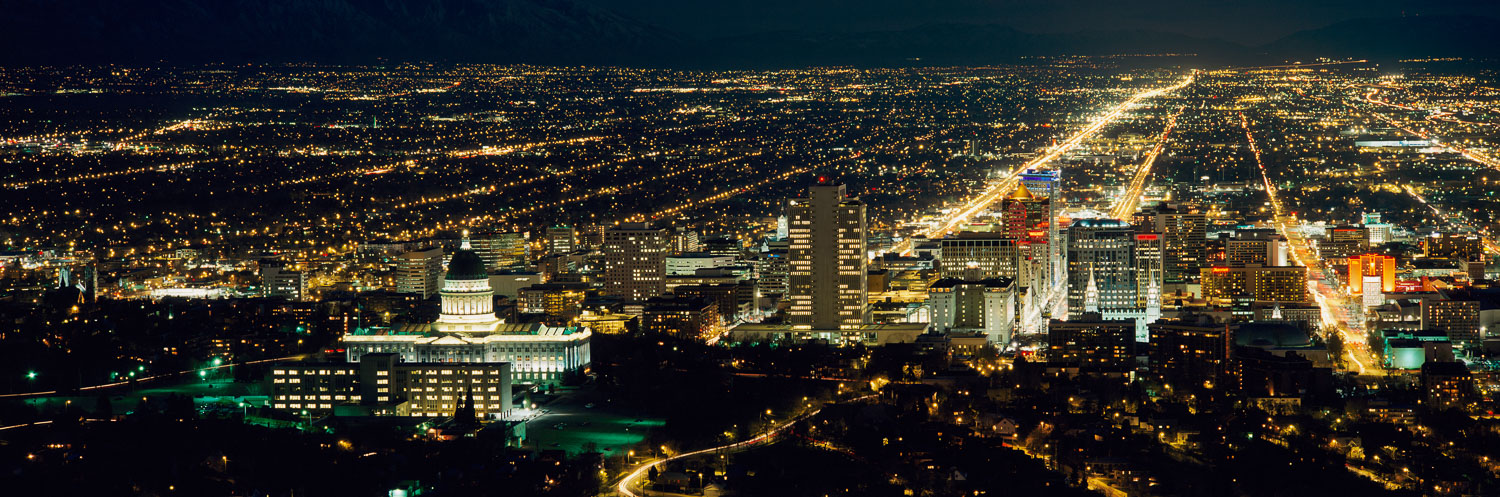 Salt Lake City, Utah,  Night Panoramic